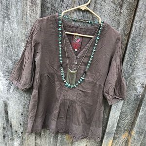 Johnny Was S brown embroidered blouse top lace